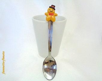 Spoon polymer gingerbread boy stainless steel - handmade
