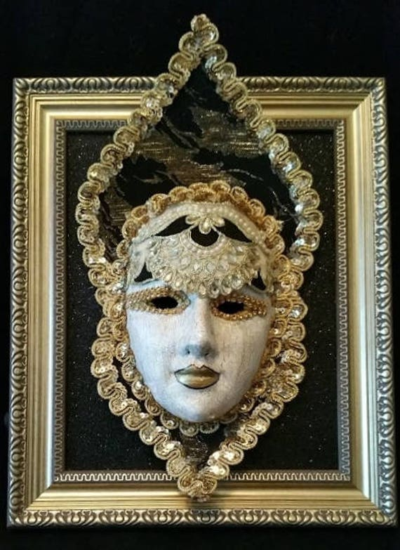 "Handmade, One of a Kind, Paper Mache Mask ""Queen of Thrones"" Set in an 8 x 10 Inch Frame Created by Maskweaver, Soraya Ahmed"