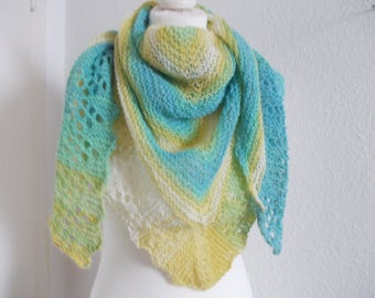 Cozy triangle scarf with angora-turquoise/light yellow/natural