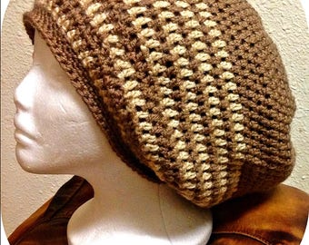 Made To Order Crochet Unisex Tam, Slouch Hat, Dreadlock Tam (In Black, Brown, Gray, Blue or Red colors)