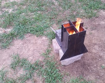 Rocket Stove Collapsible for Camping, Emergency or Survival Wood Stove