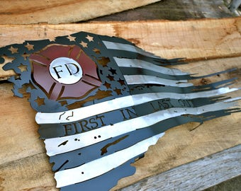 Tattered Fire Fighter Flag