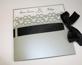 Wedding invitation Chic wedding silver black rhinestones