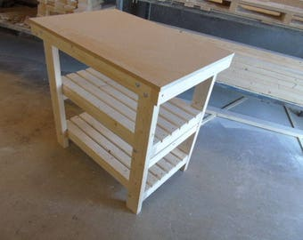 Brand New Handmade Wooden Workbench FLAT TOP - 2Ft, 3Ft, 4Ft and 5Ft - With Shelves! - Made To Order