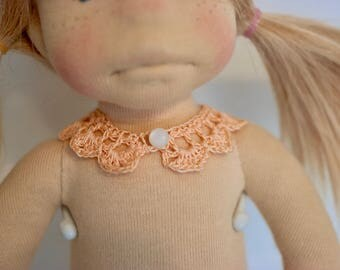 Soft Orange/Melon Crochet Doll size collar to add to any outfit