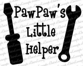 PawPaw's Little Helper Digital Design SVG, Jpg, PNG, Pdf, Gif, Cricut, Silhouette Studio Cut File