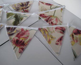 Gosford Cranberry Bunting - Laura Ashley Fabric -2 Metres -10 Double Sided Flags