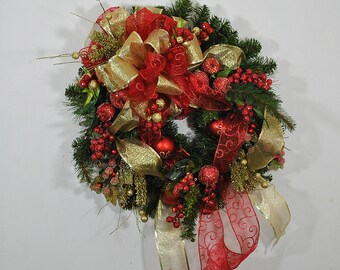red and gold Christmas wreath for front door, glittered fruit wreath, large bow wreath, red and gold pine wreath, fruit and ornament wreath