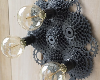 Wall lamp, upcycled art, steampunk, loft or factory.