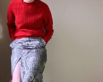 Vintage 1980s Jean Muir pure silk paisley knee length skirt . Size 8/10