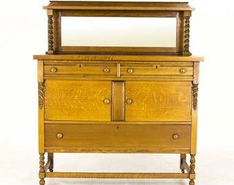 Antique Sideboard | Vintage Buffet | Oak Sideboard | Barley Twist | Canada, 1920 | B734