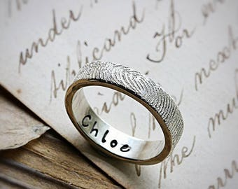 FingerPrint Personalised Ring - Gifts For Her - Fathers Day - Memorial Jewelry - Fingerprint Jewellery - Personalized Gifts