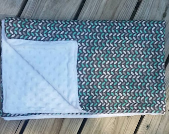 Grey and turquoise baby blanket backed with white minky