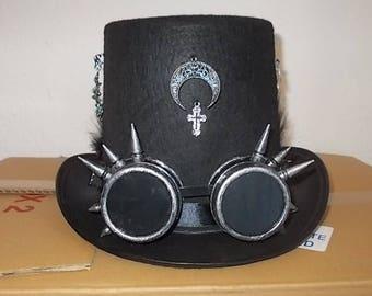 Gothic. Gotik Hut. Hat. Hoherer Zylinder. Spiked Goggles. Gothic Deko. Size 59