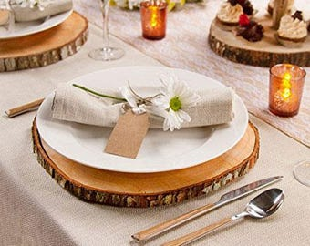 """12"""" Rustic Wood Slice for any Party, Wedding, Reception, Event-Wedding Centerpiece-Wood Slab-Wood Slices-Wood Chargers-Rustic Wood Slice"""