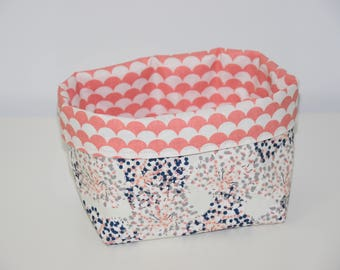 Storage basket / tray - Reversible - Japanese Foliage pattern fabric / scales - colored tones