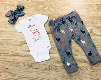 Baby Girl Deer Legging, Headband, and Onesie Set- outfit, pink, gray, baby deer, baby leggings, woodland creatures, matching outfit