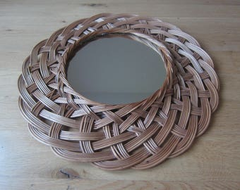 Vintage 70s round wall mirror with beautiful woven basket weave