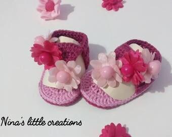 thong Sandals for crochet baby girl
