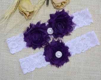 Purple Garter, Wedding Garter Set, Lace White Garter, Lace Garter Set, Bridal Garter, Garter Dark Purple, Bridal Gift, Bridal Lace Garter