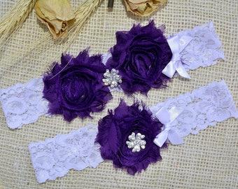 Wedding Garter, Purple Garter Set, Lace Garter White, Bridal Garter, Purple Lingerie, Keepsake Garter, Toss Garter Purple, Garter For Bride