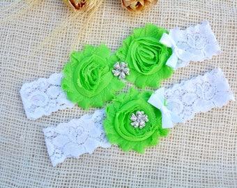 Green Wedding Garter, White Garter Set, Lime Green Garter, Keep Toss Garter, Bridal Garters, White Wedding, Rhinestone Garter, Pearl Garter