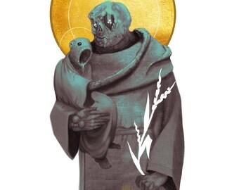 The Unholy Holy | H.P. Lovecraft | Art Print | Dark Horror Portrait | Holy Figure | Saint