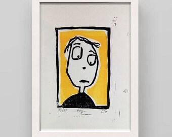 Linocut print boy friend