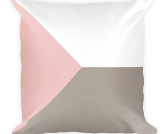 Geometric  Abstract Pink Beige White | Square Throw Pillow Cushion | Home and Living