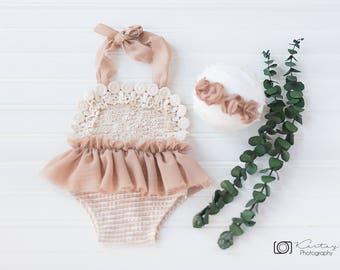 baby girl romper,newborn photography props,light caramel romper,newborn romper,romper,lace romper,romper set,vintage romper,newborn props,