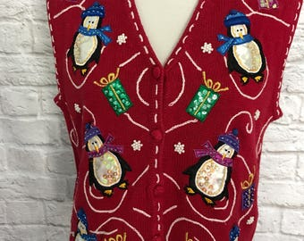 Vintage Christmas Sweater, Sweater Vest, Ugly Christmas Sweater, Tacky Christmas Sweater, Christmas Penguins, Ugly Sweater Party, Red Vest