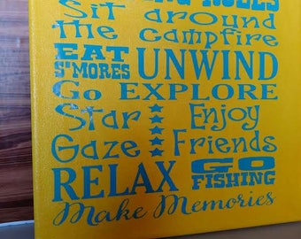 """Camping Rules 12"""" x 12"""" Canvas Sign"""