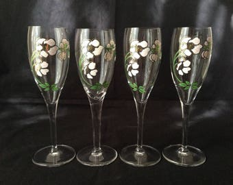 """7.5"""" Perrier Jouet champagne flutes, set of 2"""