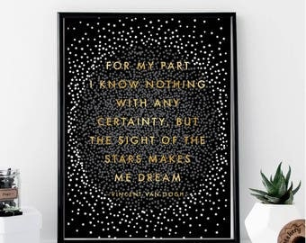 For My Part I Know Nothing...Sight of the Star Vincent Van Gogh Print // Minimal // Fashion // Typography // Scandinavian // Quote // Office