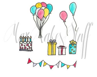 Downloadable birthday watercolor clip art | balloons | presents | cake | banner |