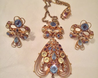 Wonderful signed Hobe Filigree Necklace and earrings 1930s'