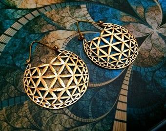 Big Brass Earrings. Circle of life Hoop Earrings. Gypsy Hoop Earrings. Ethnic Earrings. Tribal design. Handmade Jewelry. Festival Jewelry