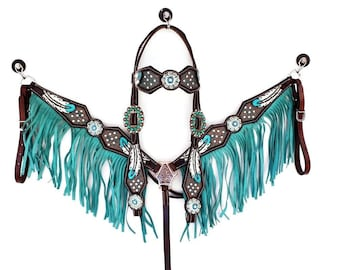 Turquoise Bling Feather Tooled Western Show Leather Trail Barrel Racing Racer Bridle Headstall Breast Collar Tack Set