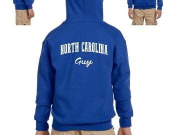 NC Guy North Carolina Flag Charlotte Map 49ers Home of University of NC UNC Heavy Blend Youth Full-Zip Hooded Sweatshirt