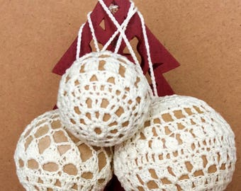 Christmas tree balls decor holiday home decor crochet cotton