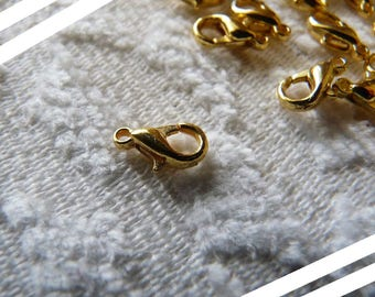 Gold Lobster Clasps,  10mm Gold Plated Small Lobster Clasp Closures, Lobster Claw Hook Clasps, Chain Clasps, Necklace Fastener, Connectors