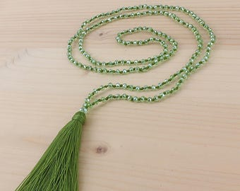 Bohemian Style Tassel Necklace Olive Green
