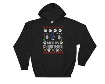 Merry Christmas Pug Police Hooded Sweatshirt