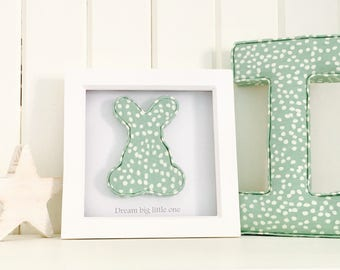 Dream big little one; nursery wall art; mint nursery decor; new baby gift; christening gift; bunny nursery decoration