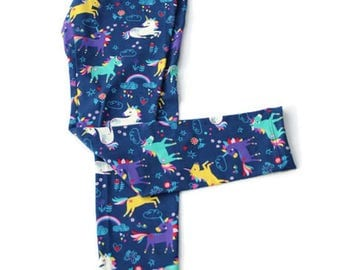 Leggings for women Navy with white unicorns, tursquoises, yellow and purple