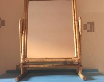 1970s Bamboo dressing table mirror