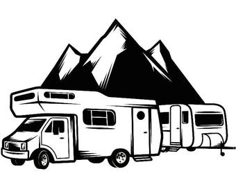 Camping Logo 9 Motorhome Camper Recreational Vehicle RV Camp Campsite Trailer Mountain Vacation Banner