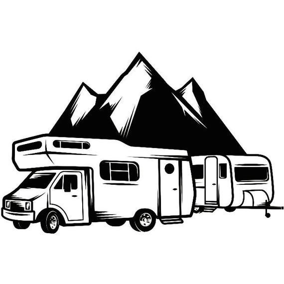 Camping Logo 9 Motorhome Camper Recreational Vehicle RV Camp Campsite Trailer Mountain Vacation Banner SVG EPS Vector Cricut Cut Cutting