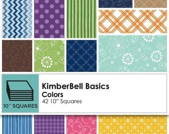 10 inch square pack, 42 pieces Kimberbell Basic cotton fabric collection
