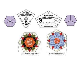 """Marti Michell one-derful one patch templates, 2"""" kite and crown makes 2"""" hexagon 1/4 inch seam allowance"""
